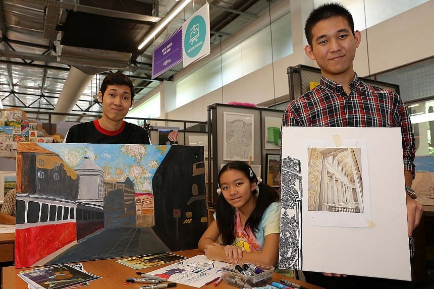 From left: Mr Phua, Jolie and Mr Muhammad Khairul at Pathlight's Artist Development Programme workshop for student and alumni artists.