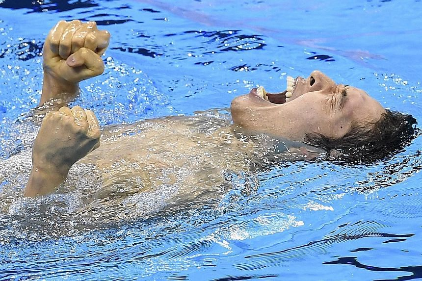 Kosuke Hagino, 21, celebrating winning the 400m individual medley final. His time on Saturday was the third-fastest in history, helping the Japanese become the first non-American winner in this event in 24 years.