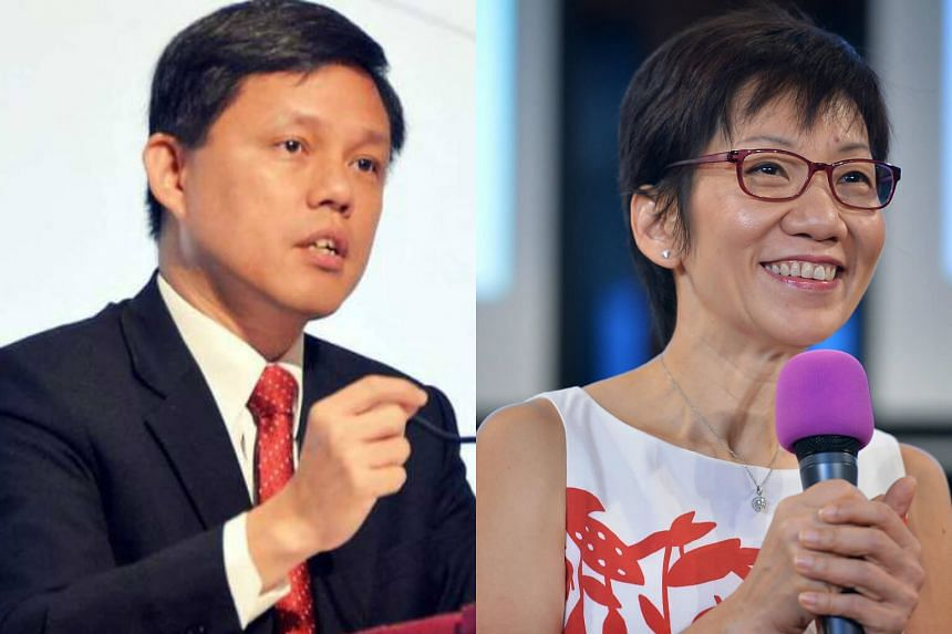 Minister in the Prime Minister's Office Chan Chun Sing (left) and Minister for Culture, Community and Youth Grace Fu.