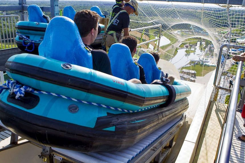"""People riding the so-called Verruckt or """"insane"""" water slide at the Schlitterbahn Kansas City Waterpark in Kansas City."""
