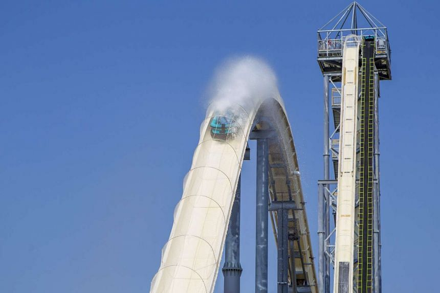 Another view shows the 51.2 metre tall first hill on the Verruckt water slide,