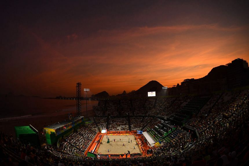 A packed Beach Volleyball Arena watching the men's competition at Rio's famed Copacabana beach on Saturday night.