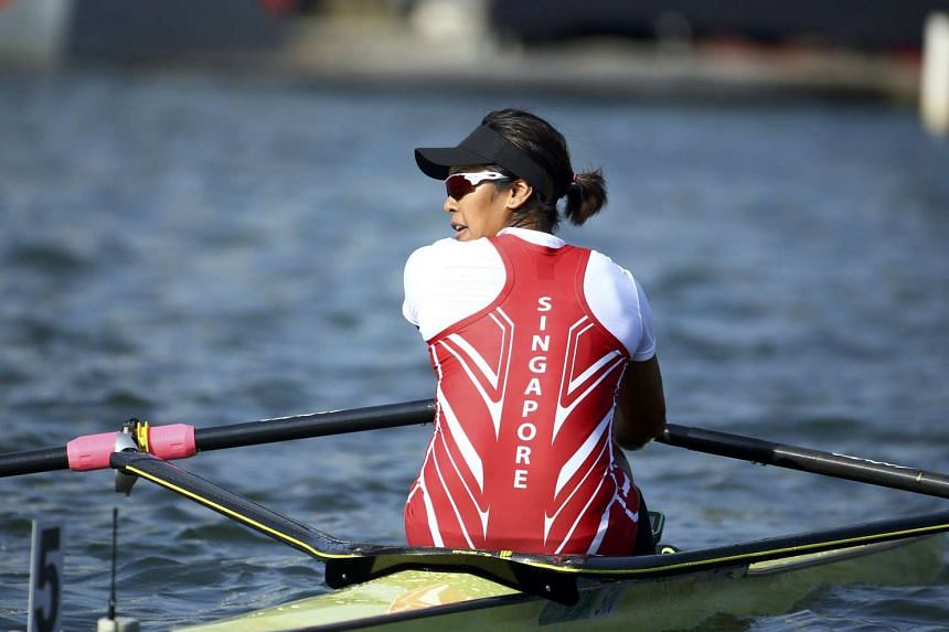 Singapore's first Olympic rower clocked a time of 7min 56sec in the six-crew race.