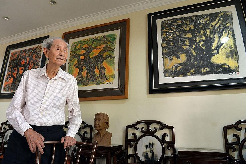 Mr Lim Tze Peng, the oldest of the 3,959 National Day Award winners this year, is known for his Chinese ink paintings of old Singapore and semi-abstract works of trees. The Meritorious Service Medal is the third National Day Award for the 95-year-old