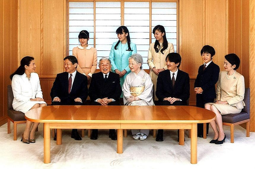 Japanese Emperor Akihito (front row, third from left) and Empress Michiko (front row, fourth from left) with their family members (front row, from far left) Crown Princess Masako, Crown Prince Naruhito and his brother Prince Akishino, Prince Hisahito