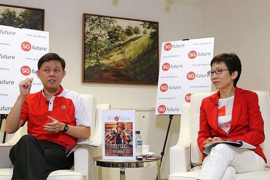Mr Chan and Ms Fu at the launch of the report on the SGfuture exercise yesterday. Ms Fu said the feedback received set the Government thinking about how it can evolve in engaging Singaporeans.