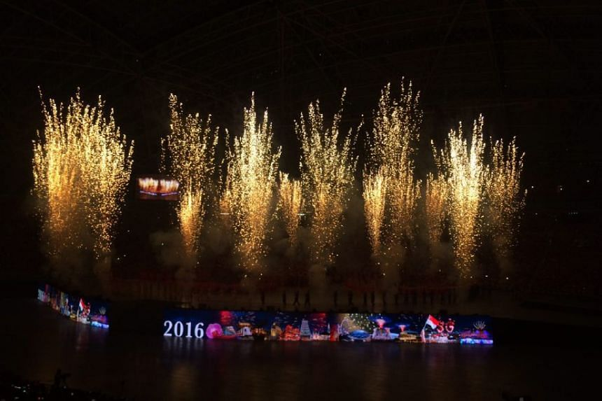Indoor fireworks going off during the performance segment of the National Day Parade, on Aug 9, 2016.