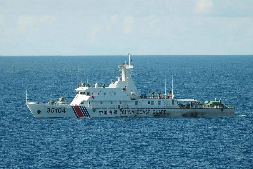 This hand out picture released by the Japan Coast Guard on August 6 shows the China coast guard ship 35104 sailing near the waters of disputed East China Sea islands.
