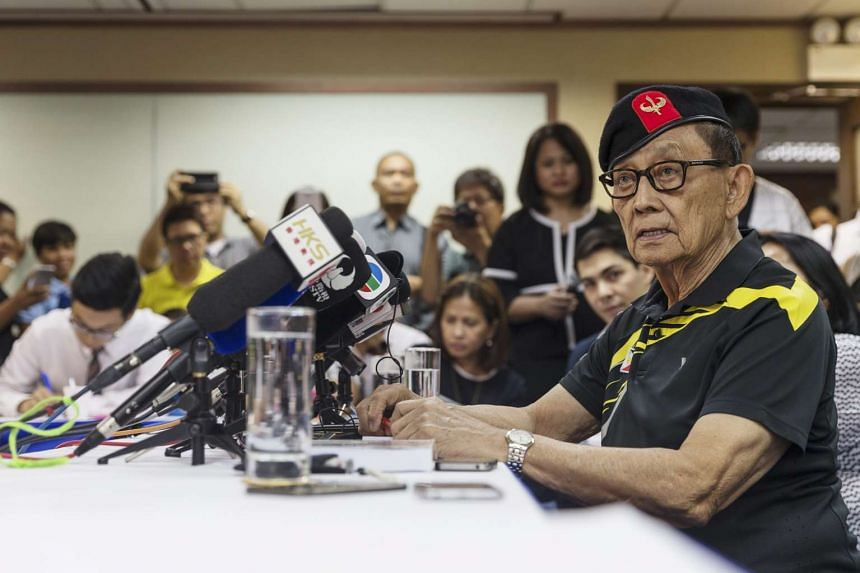 Former Filipino President Fidel Ramos speaks at a press conference at the Philippine Consulate General in Hong Kong, on Aug 9, 2016.