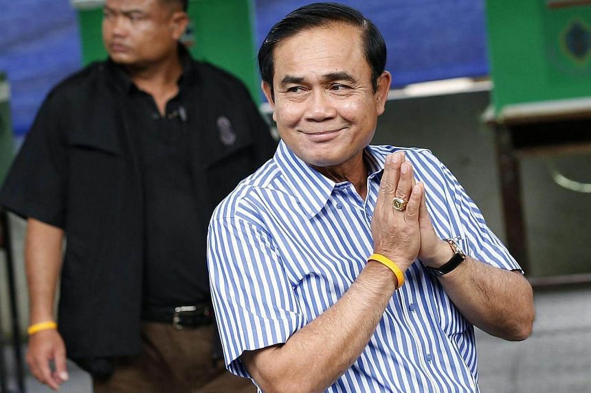 Thai PM Prayut Chan-o-cha seen after casting his vote at a polling station in Bangkok, Thailand, August 7.