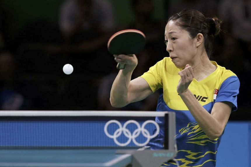 National table tennis star Yu Mengyu returns the ball against Jeon Ji-Hee of South Korea in round 4 of the women's singles.
