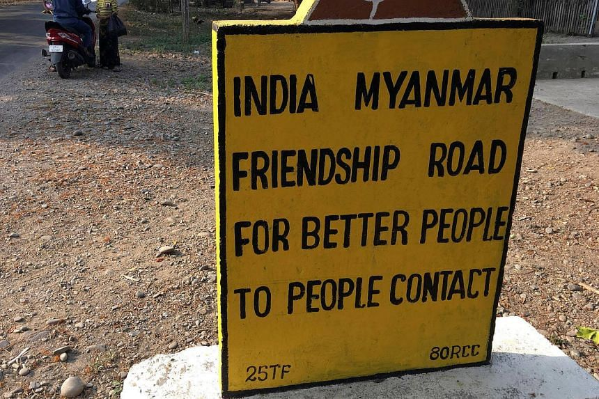 A sign on the India Myanmar Friendship Road, near the border with India where huge quantities of Indian-made pseudoephedrine is smuggled over the border into Myanmar.