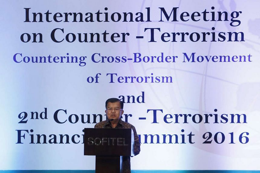 Indonesian Vice President Jusuf Kalla speaks during the International Meeting on Counter Terrorism in Nusadua, Bali, Indonesia, Aug 10, 2016.