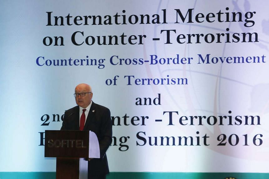 Australian Attorney General George Brandis deliver a speech during the International Meeting on Counter Terrorism in Nusadua, Bali, Indonesia, Aug 10, 2016.