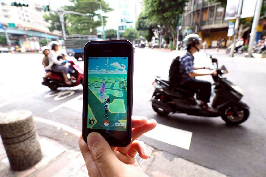 Pokemon Go being played on a smartphone in Taipei on Aug 6.
