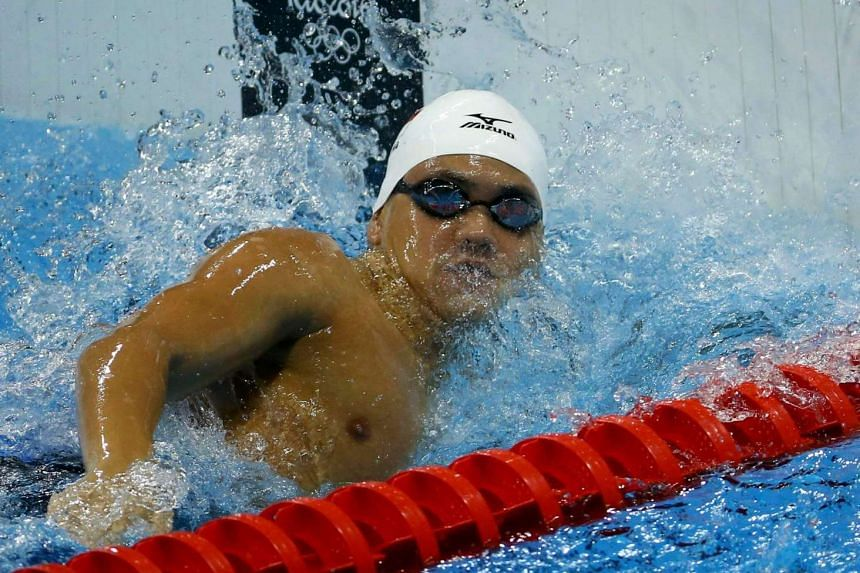 Joseph Schooling competes during the 2016 Rio Olympics on Aug 9.