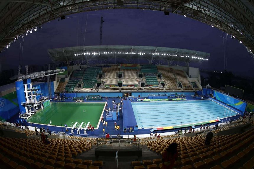 The pool (left) used for the women's synchronised 10m platform final at the 2016 Rio Olympics at the Maria Lenk Aquatics Stadium.