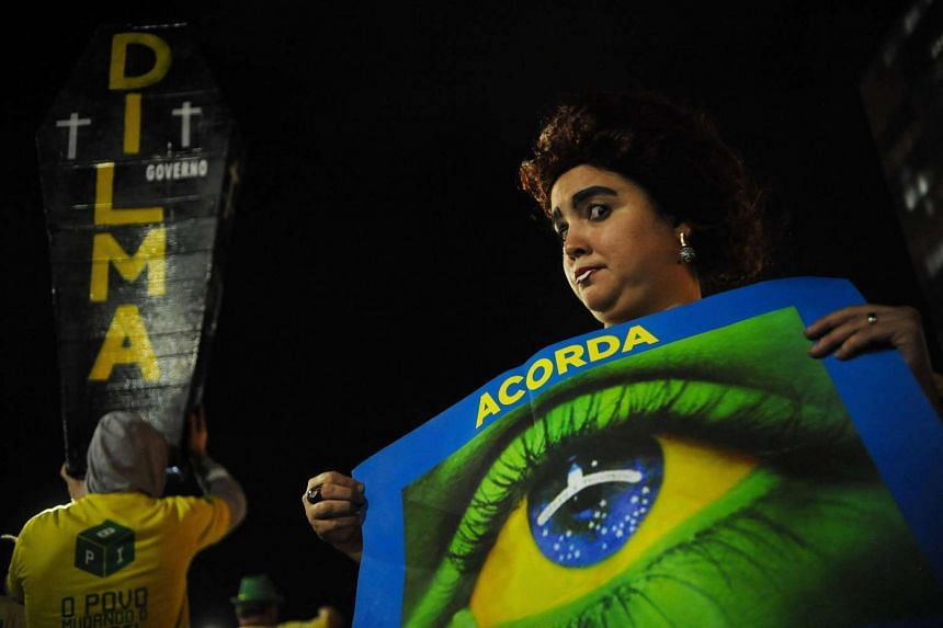 Protest against suspended President Dilma Rousseff outside the National Congress in Brasilia on Aug 9.