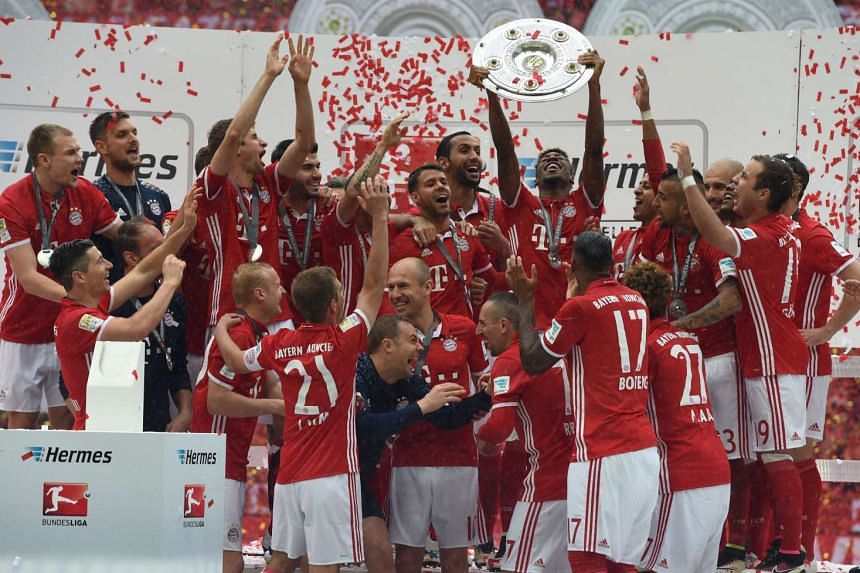 Bayern Munich celebrating their Bundesliga title win on May 14, 2016.