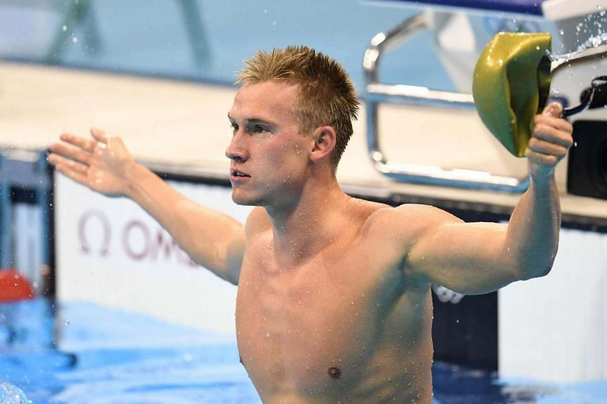 Dmitriy Balandin of Kazakhstan celebrates after his shock win at the men's 200m Breaststroke final of the Rio 2016 Olympic Games on 10 August 2016.