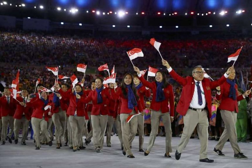 Singapore athletes take part in the opening ceremony at the Rio 2016 Olympic Games on Aug 5, 2016.