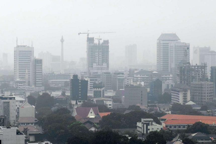 Haze is seen over the Jakarta skyline on May 17, 2016.