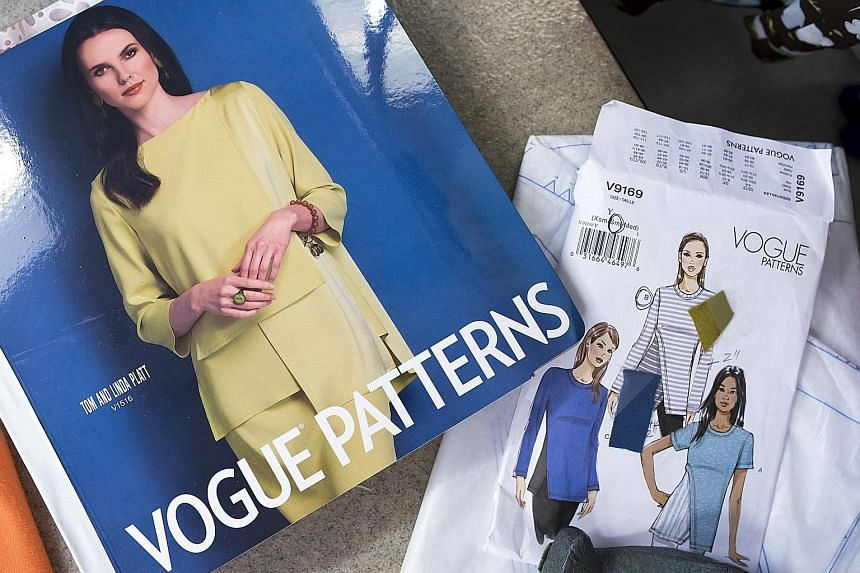 Home-sewing brand McCall Pattern publishes catalogues, which sewing enthusiasts can find at fabric shops.
