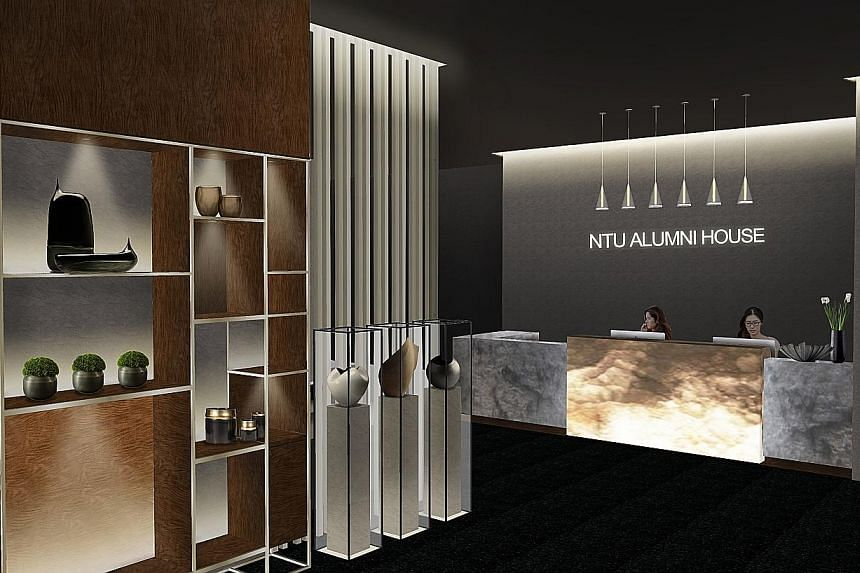 An artist's impression of the reception area at the NTU alumni house at Marina Square, which is slated to open in November this year. It is a mega 10,000 sq ft clubhouse - equivalent to nine five-room flats - with facilities that include a restaurant