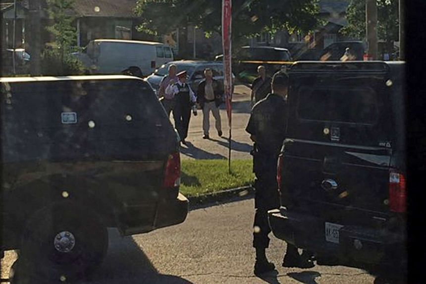 """Police raid a home after they received """"credible information of a potential terrorist threat"""" at a small community in Strathroy, Ontario, on Aug 10, 2016."""