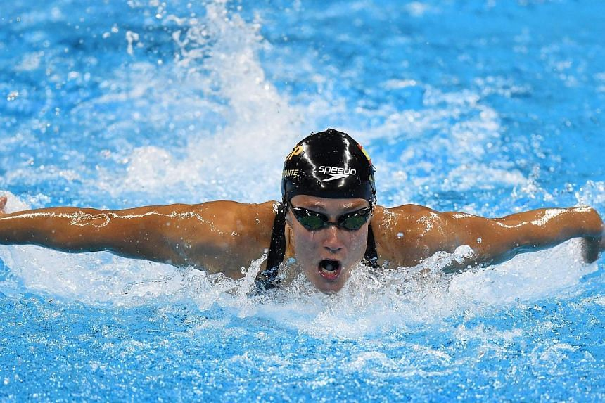 Mireira Belmonte Garcia of Spain competes in the women's 200m Butterfly heats of the Rio 2016 Olympic Games Swimming events at Olympic Aquatics Stadium at the Olympic Park in Rio de Janeiro, Brazil on August 9.