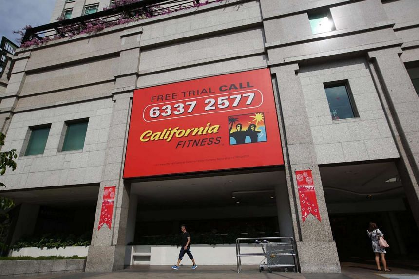 A generic photograph of the California Fitness banner at Bugis Junction Towers.