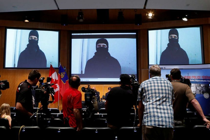 Police show the video of Aaron Driver at a press briefing in Ottawa, Canada, on Aug 11, 2016.