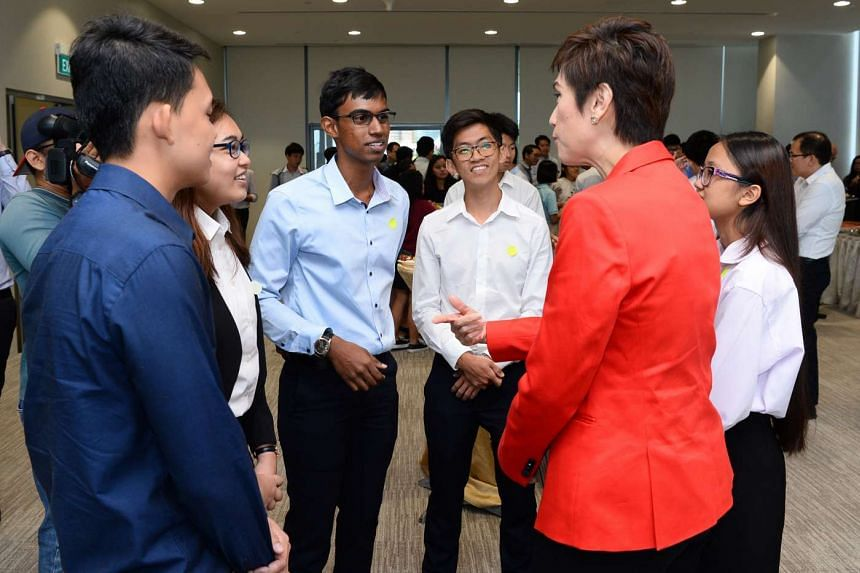 Senior Minister of State for Foreign Affairs and Transport Mrs Josephine Teo speaking to students at the third Singapore Maritime Dialogue held on Friday (Aug 12) at the PSA Pasir Panjang Terminal.