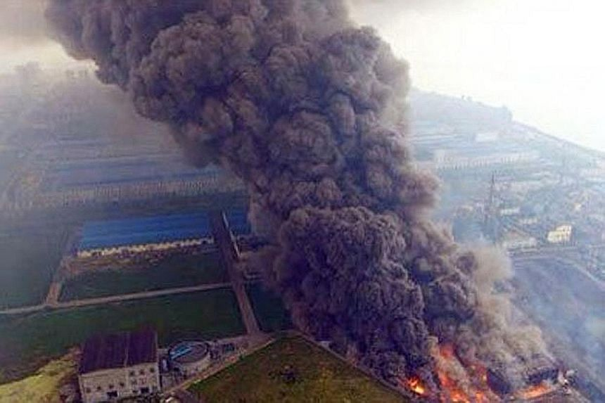 The explosion at a coal-fired power plant in Dangyang, Hubei province. Reports said rescue efforts were under way. China has vowed to improve safety at such industrial facilities. But in Tianjin itself, there are complaints that a kilometre from the