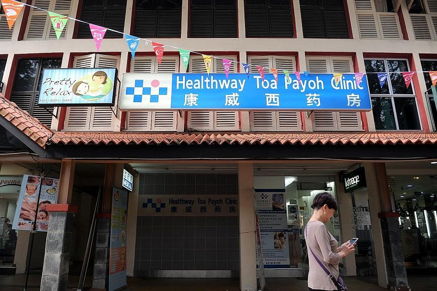Shares in HMC, one of Singapore's largest private clinic networks, are thinly traded and have plunged 48 per cent over the last year to close at three cents yesterday. Its clinic in Toa Payoh Central is pictured above.