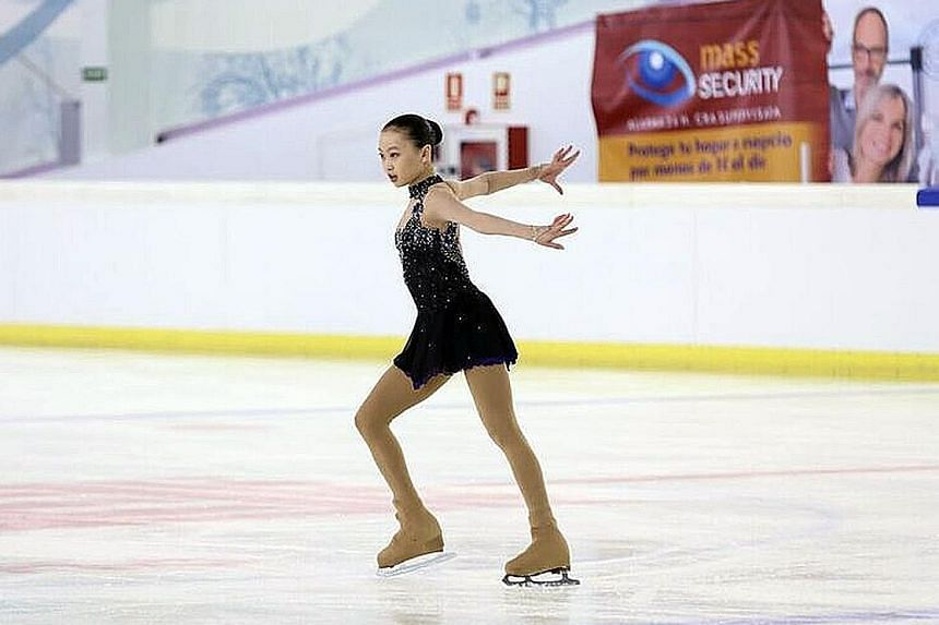 Yu Shuran in action on the ice at last year's Junior Grand Prix in Logrono, Spain. She will be competing for Singapore at February's Four Continents Figure Skating Championship, her first major senior international competition.