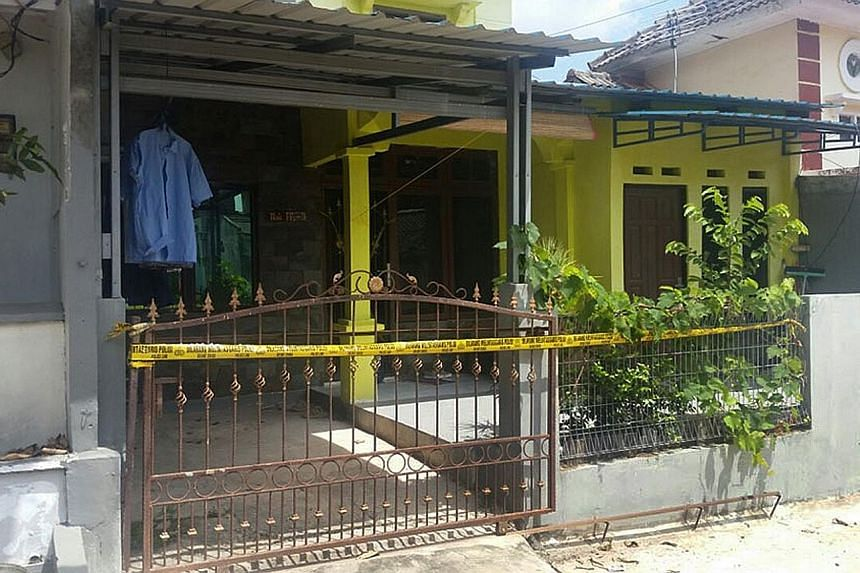 The house of terror cell leader Gigih Rahmat Dewa in Batam. Police said the five suspects had been flown to Jakarta on Tuesday, and all evidence, such as weapons seized in raids, had also been sent to Jakarta.