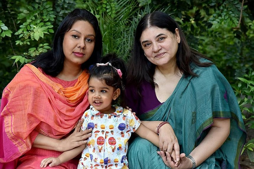 """Mrs Gandhi (right) tweeted this photo of herself with her daughter-in-law and granddaughter to mark Daughter's Day. The social media campaign is part of the """"Save daughter, educate daughter"""" programme."""