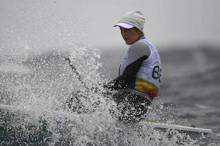 Belgium's Evi van Acker competes in the Laser Radial Women sailing class on Marina da Gloria at the Rio 2016 Olympic Games on Aug 10.