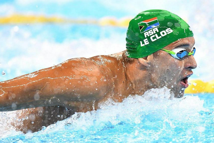 Chad le Clos of South Africa competes in the men's 100m Butterfly heats of the Rio 2016 Olympic Games Swimming events at Olympic Aquatics Stadium at the Olympic Park in Rio de Janeiro, Brazil on Aug 11, 2016.