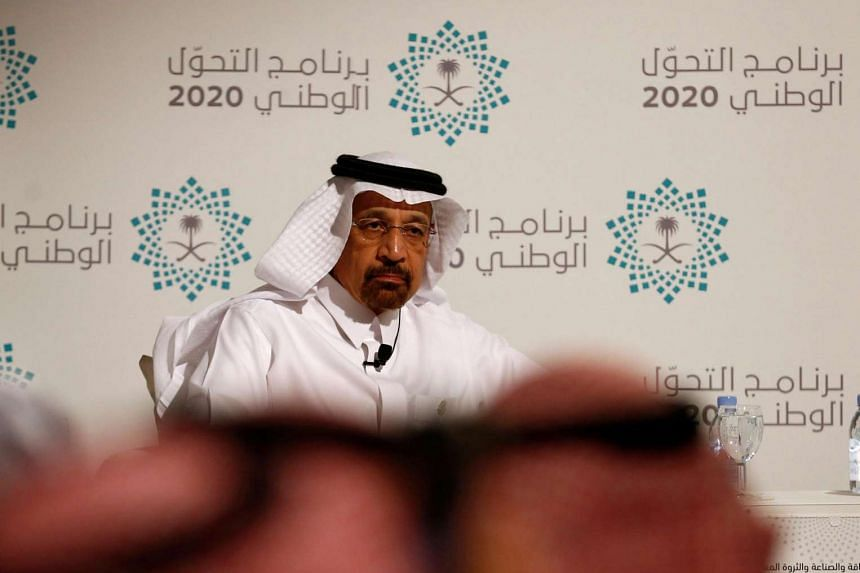 Saudi Energy Minister Khalid al-Falih attends a news conference announcing the kingdom's National Transformation Plan, in Jeddah, Saudi Arabia on June 7.