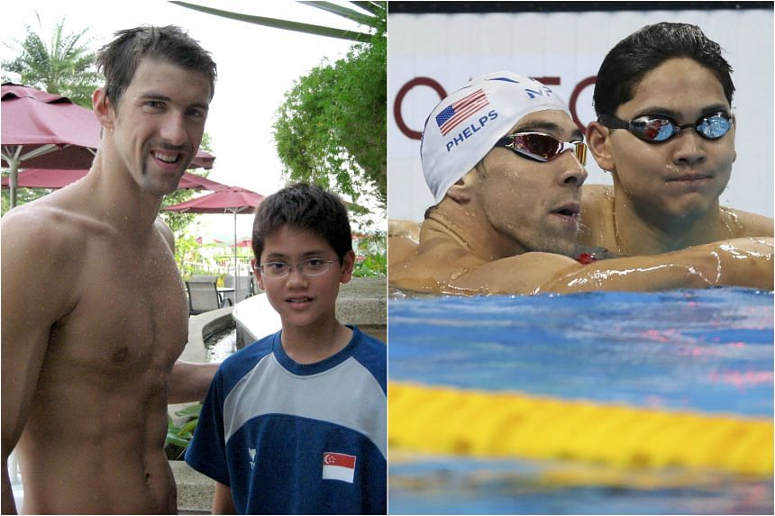 Then: A young Joseph Schooling with Michael Phelps before the 2008 Olympics. Now: The pair after their 100m butterfly heat in Rio.