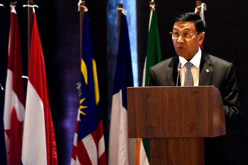 Indonesia Coordinating Minister for Legal, Politics and Security Affairs Wiranto speaks during a conference on counter-terrorism in Nusa Dua on the Indonesian resort island of Bali on Aug 10.