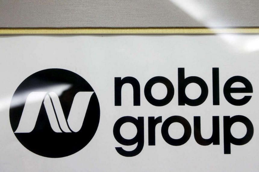 A Noble Group sign at a meet-the-investors event in Singapore, on Aug 17, 2015.