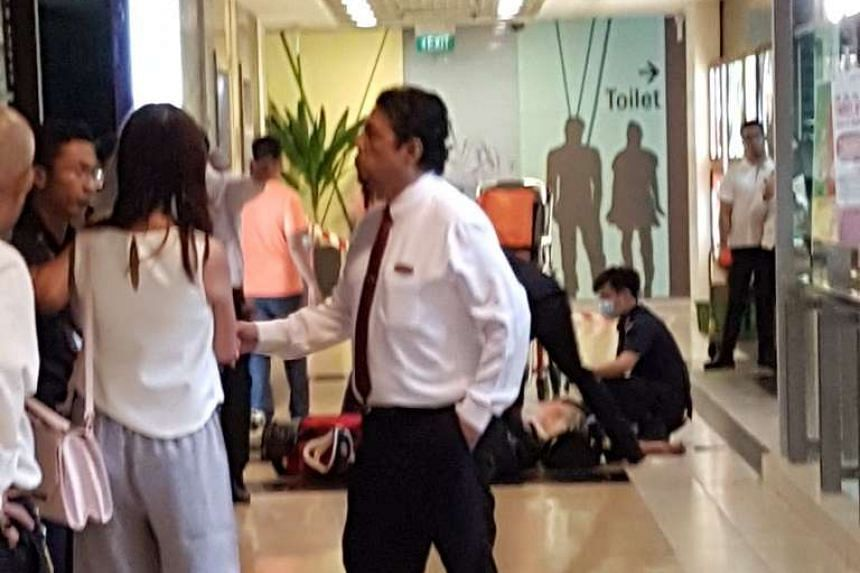 A man in his 20s was taken to Khoo Teck Puat Hospital, the SCDF said.