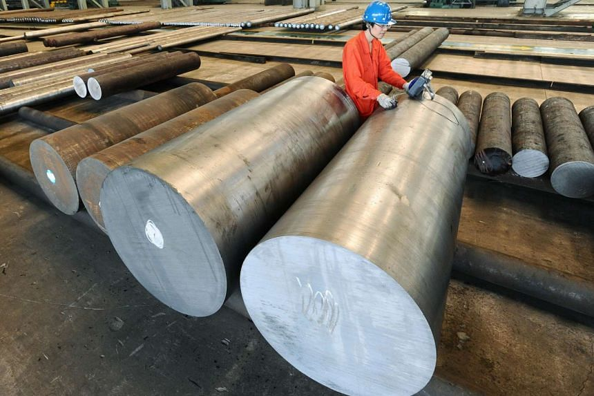 An employee works at a steel factory in Dalian, Liaoning Province, China on July 4.