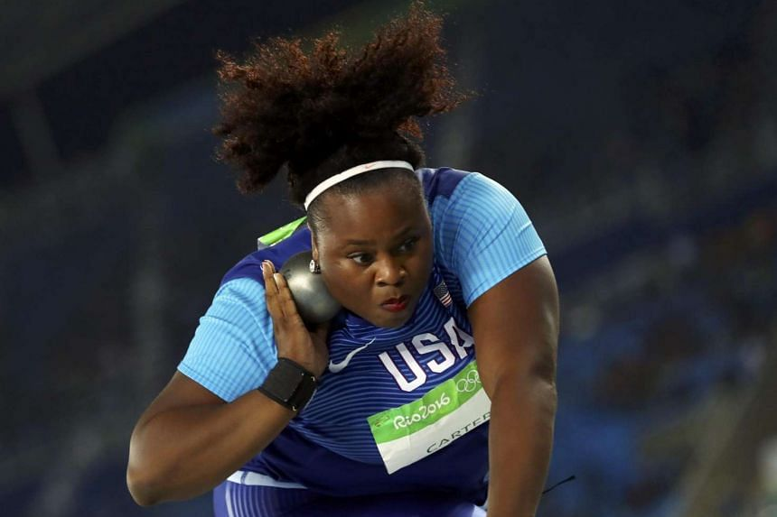 Michelle Carter of USA competes during women's shot put final on Aug 12 at the 2016 Rio Olympics.