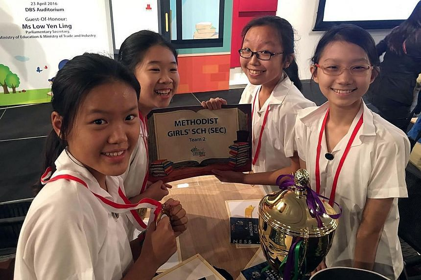 The winners from Methodist Girls' School (Secondary, (from left) Erin Chan, Hua Xuan Ying, Tricia Chee and Elizabeth Chua.