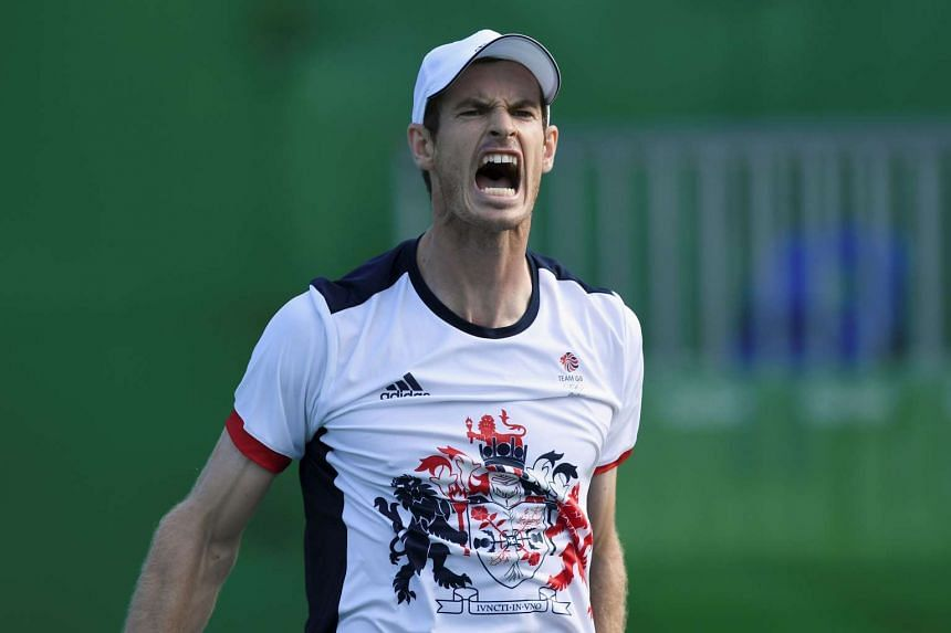 Britain's Andy Murray celebrates after winning his men's singles quarter-finals match.