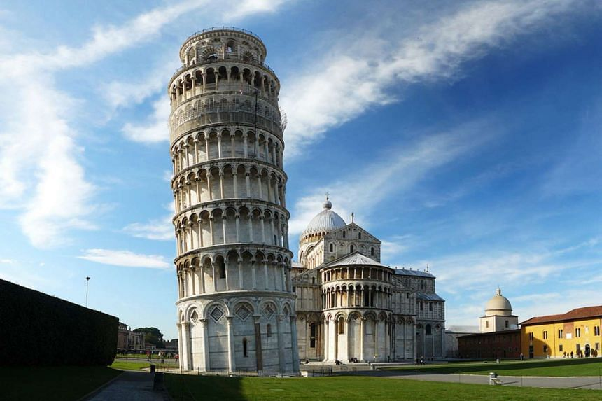 The Leaning Tower of Pisa in Italy (above) was the planned target.